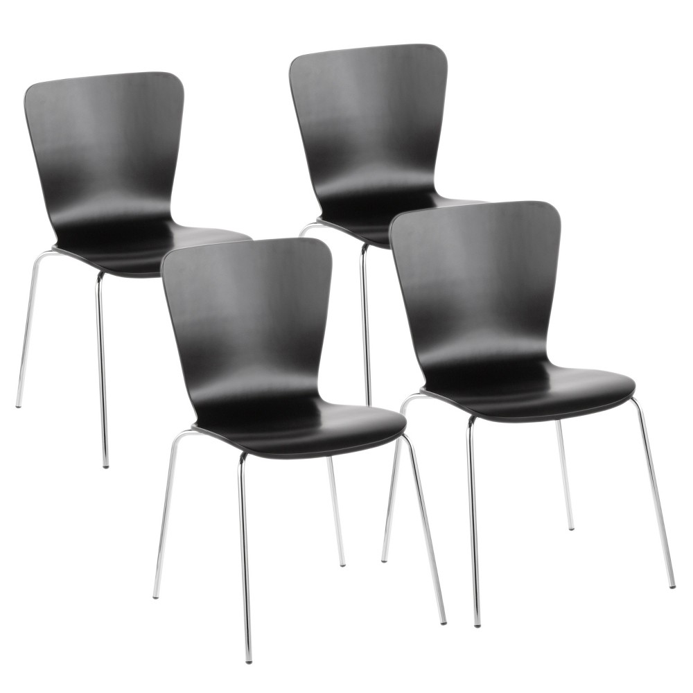 Set of 4 Bentwood Contemporary Stackable Dining Chair Black - LumiSource