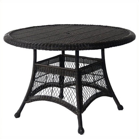 "Steel Wicker 44"""" Round Dining Table in Black-Pemberly Row - image 1 of 1"