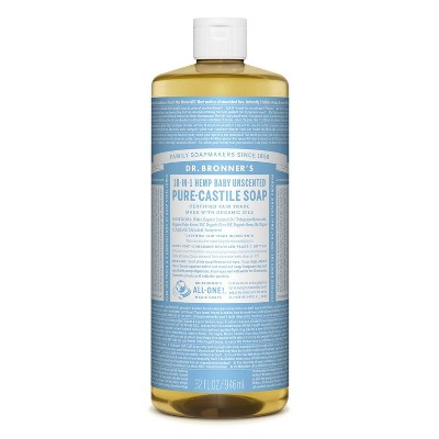 Dr. Bronner's 18-In-1 Hemp Baby Pure Castile Soap - Unscented - 32 fl oz