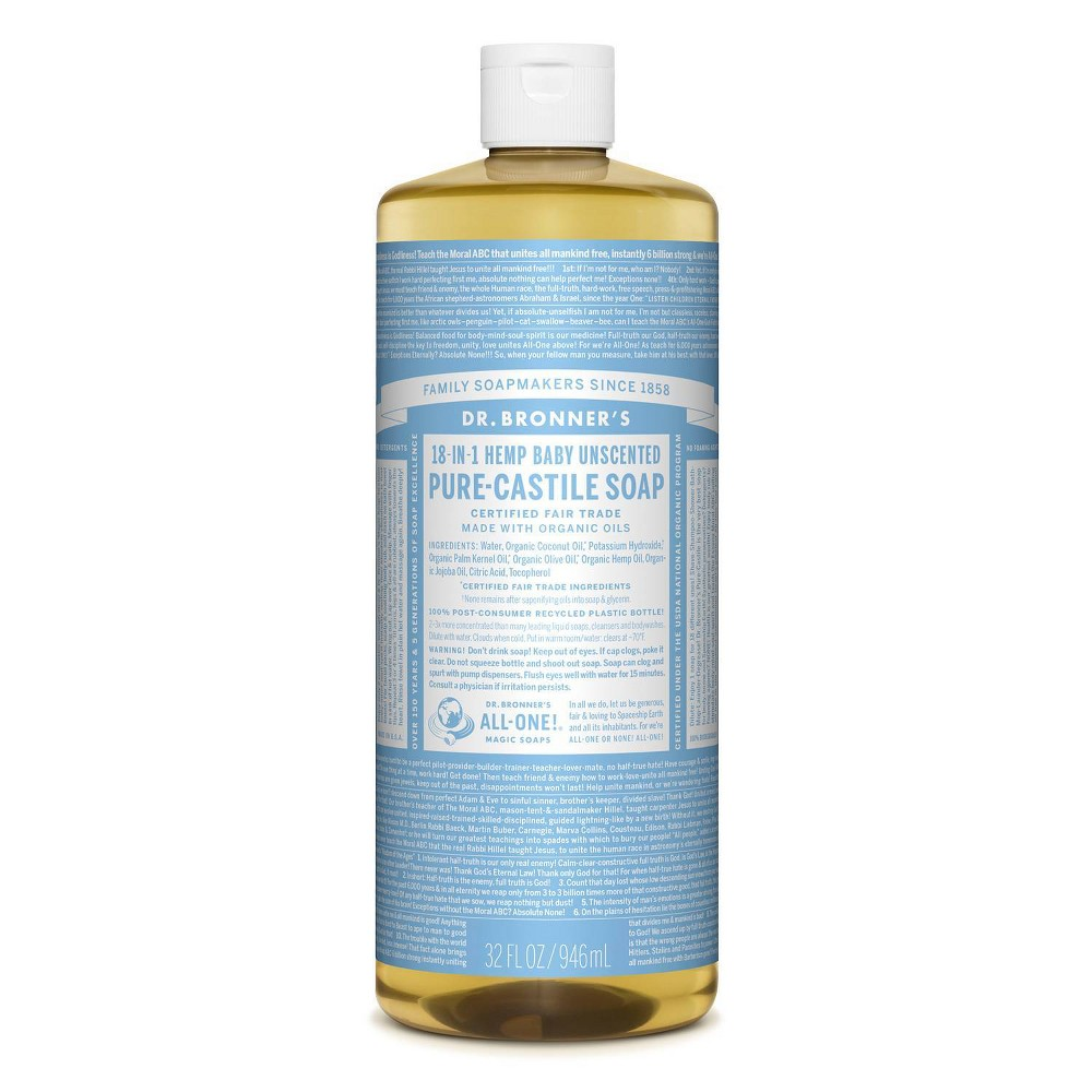 Image of Dr. Bronner's 18-In-1 Hemp Baby Pure Castile Soap - Unscented - 32 fl oz