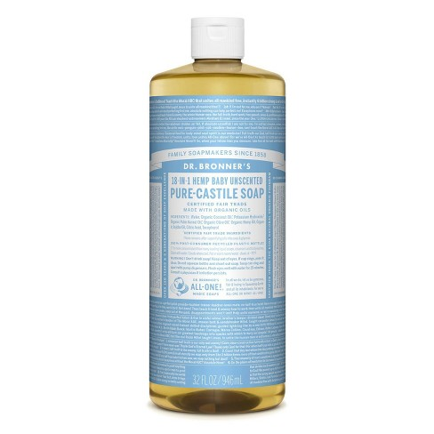 Dr. Bronner's 18-In-1 Hemp Baby Pure Castile Soap - Unscented - 32 fl oz - image 1 of 3