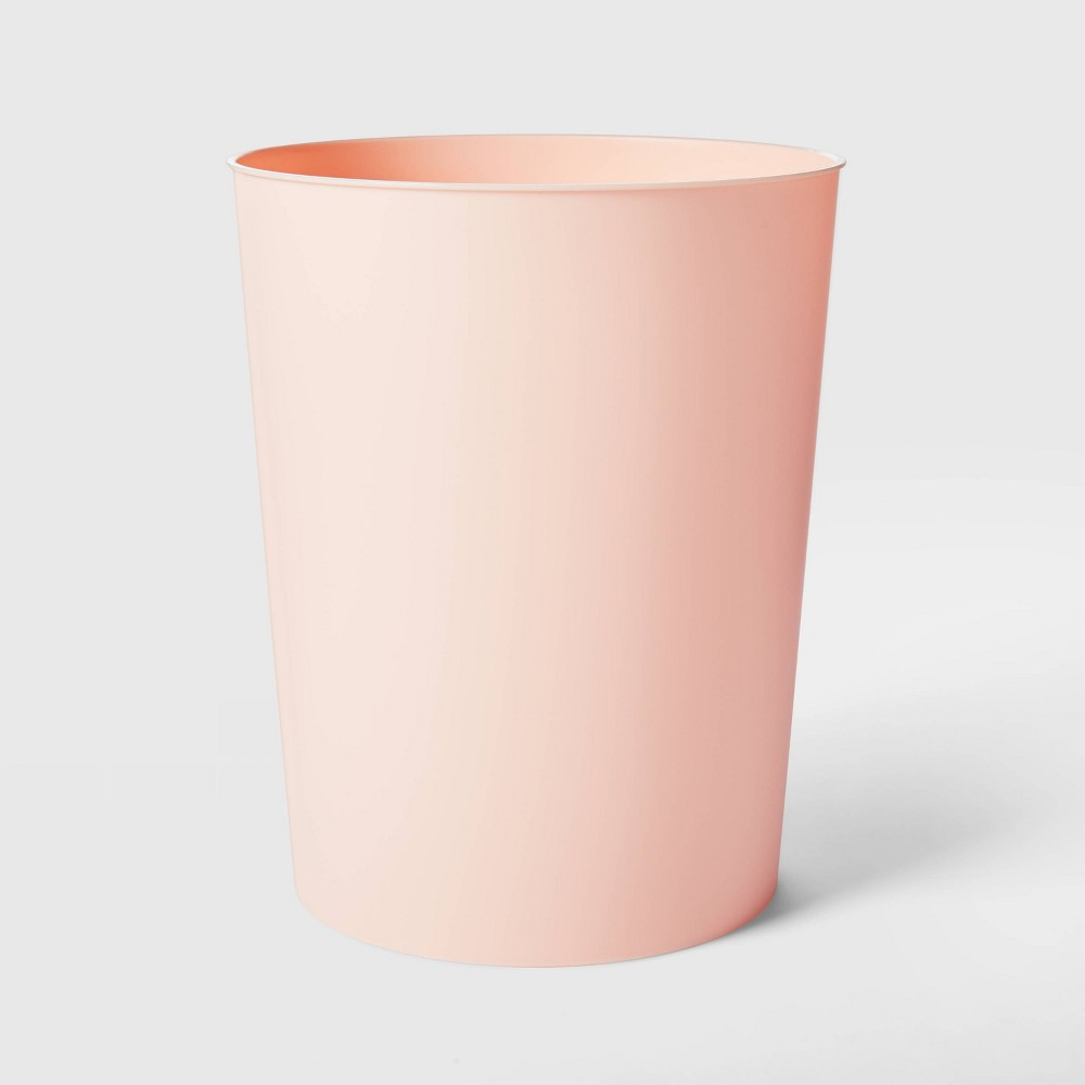Image of Solid Bathroom Wastebasket Peach - Room Essentials