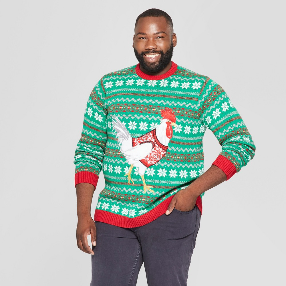 33 Degrees Men's Big & Tall Ugly Holiday Christmas Sweater Chicken Long Sleeve Pullover Sweater - Red 3XB
