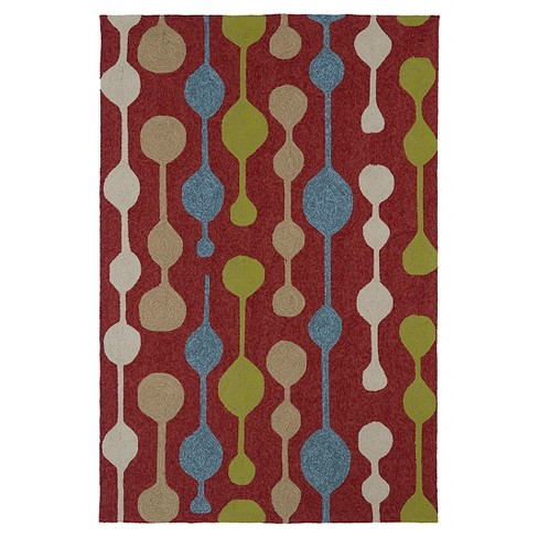 Kaleen Rugs Home And Porch Party Lights Indoor Outdoor Area Rug Red