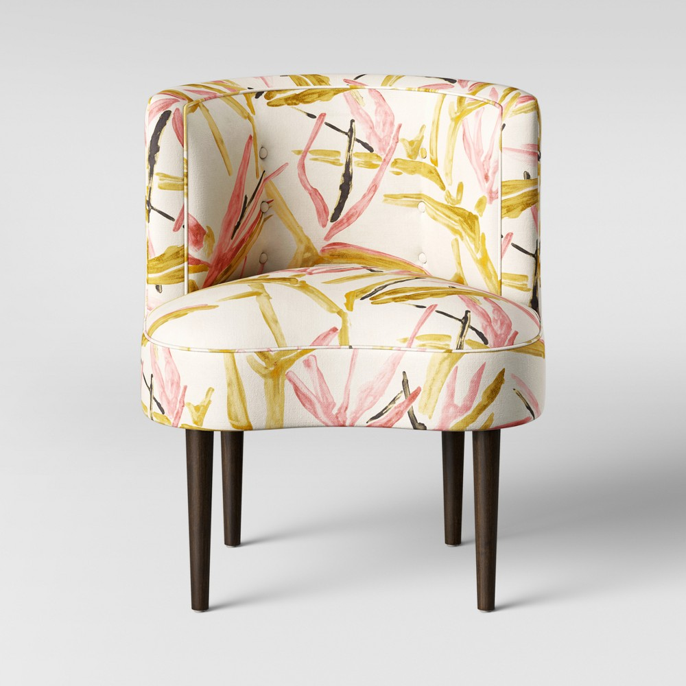 Clary Curved Back Accent Chair Pink/Cream Tropical Grass - Opalhouse, Pink & Cream Tropical Grass