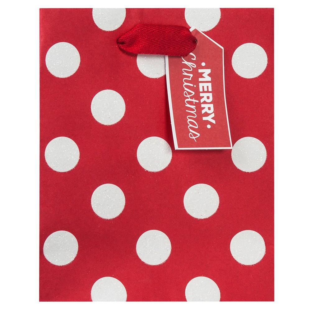 Petite Polka Dot Christmas Gift Bag Red - Wondershop