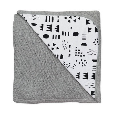 Honest Baby Organic Cotton Reversible Mini-Quilted Receiving Blanket - Pattern Play White/Black