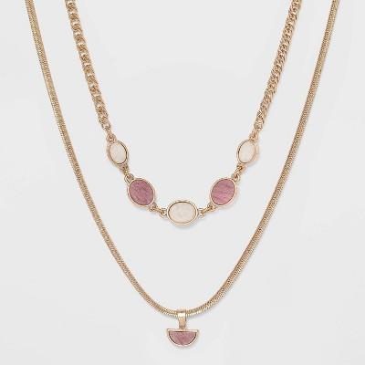 Semi-Precious Rhodochrosite Layered Necklace - Universal Thread™ Berry Pink