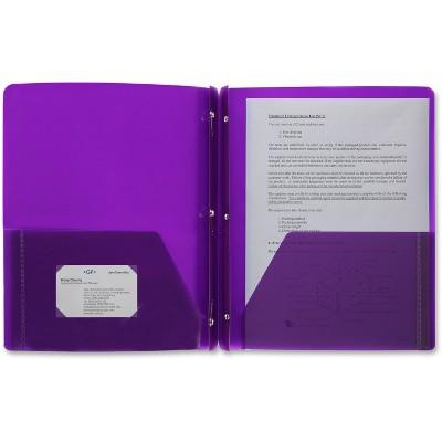 Business Source Poly Portfolio 3 Prong 2 Pkts LTR .3mil Purple 20885