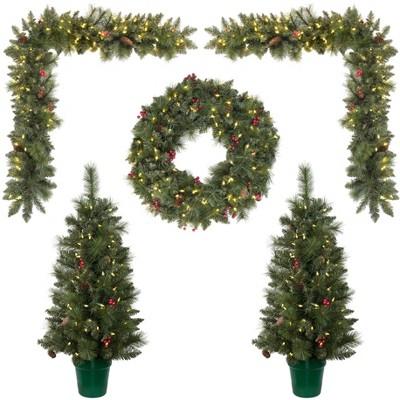 Vickerman 5 Piece Front Door Artificial Christmas Set, Warm White LED Lights, Set of 5