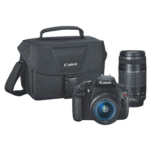 Canon EOS Rebel T5 DSLR Camera with 18-55mm and 75-300mm Lenses and Bag - Black (9126B057) - image 1 of 4