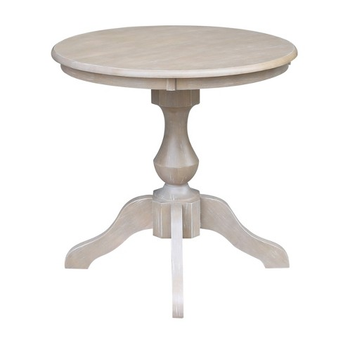 Solid Wood 30 X 30 Round Pedestal Dining Table Weathered Gray