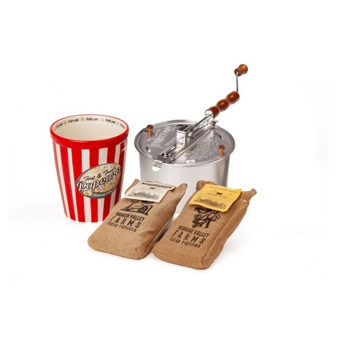 Whirley-Pop Original Stovetop Popcorn Popper with Ceramic Serving Bowl and Amish County Burlap Bag Popcorn - image 1 of 4