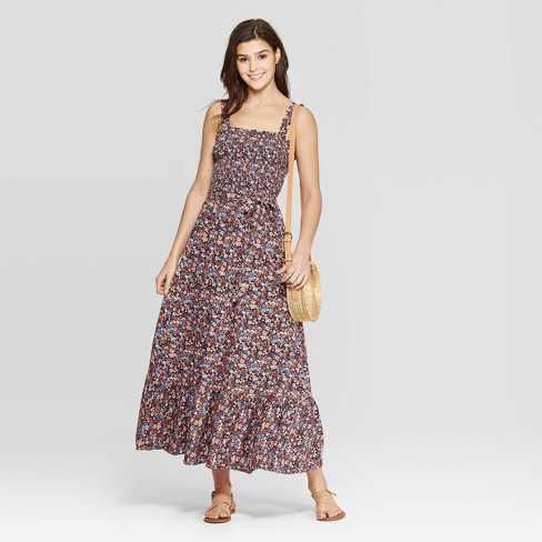 Women's Sleeveless Square Neck Stripe Shoulder-Tie Maxi Dress - Universal Thread™ Blue - image 1 of 3