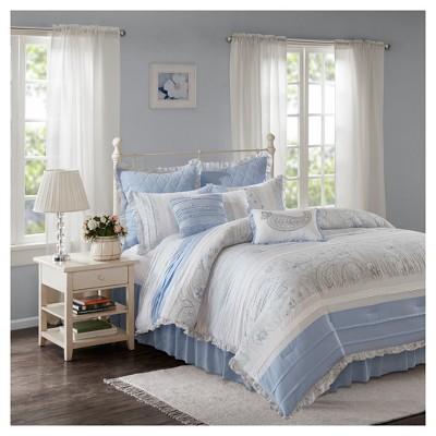 Blue Laurette Cotton Percale Comforter Set (Queen)9pc