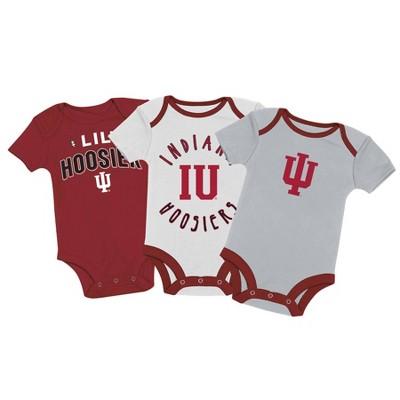 NCAA Indiana Hoosiers Baby Boys' 3pk Bodysuit Set