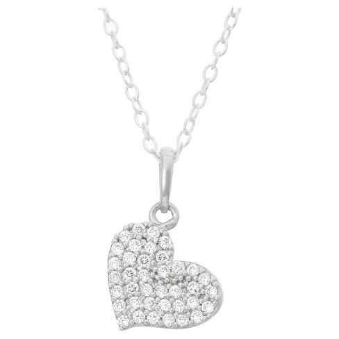 Children's Pave Cubic Zirconia Heart Pendant In Sterling Silver - image 1 of 1