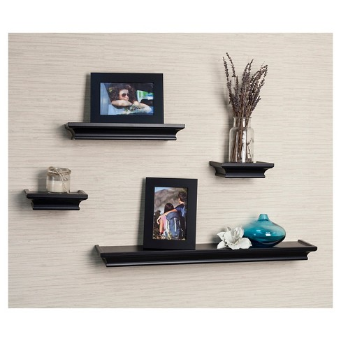 danya b cornice ledge shelves with photo frames set of 4 black