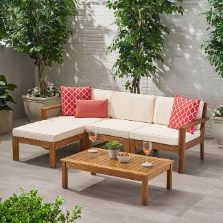 Santa Ana 5pc Acacia Wood Sofa Sectional Set Teak/Cream - Christopher Knight Home