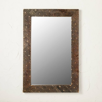 """24"""" x 36"""" Carved Wood Mirror - Opalhouse™ designed with Jungalow™"""