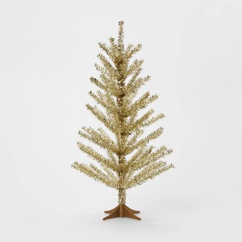 Tinsel Christmas Tree.2ft Mini Unlit Tinsel Artificial Christmas Tree Gold Wondershop