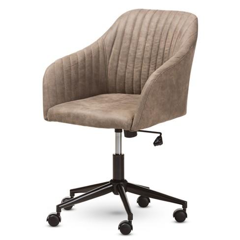 Maida Midcentury Modern Fabric Upholstered Office Chair Light Brown - Baxton Studio - image 1 of 4