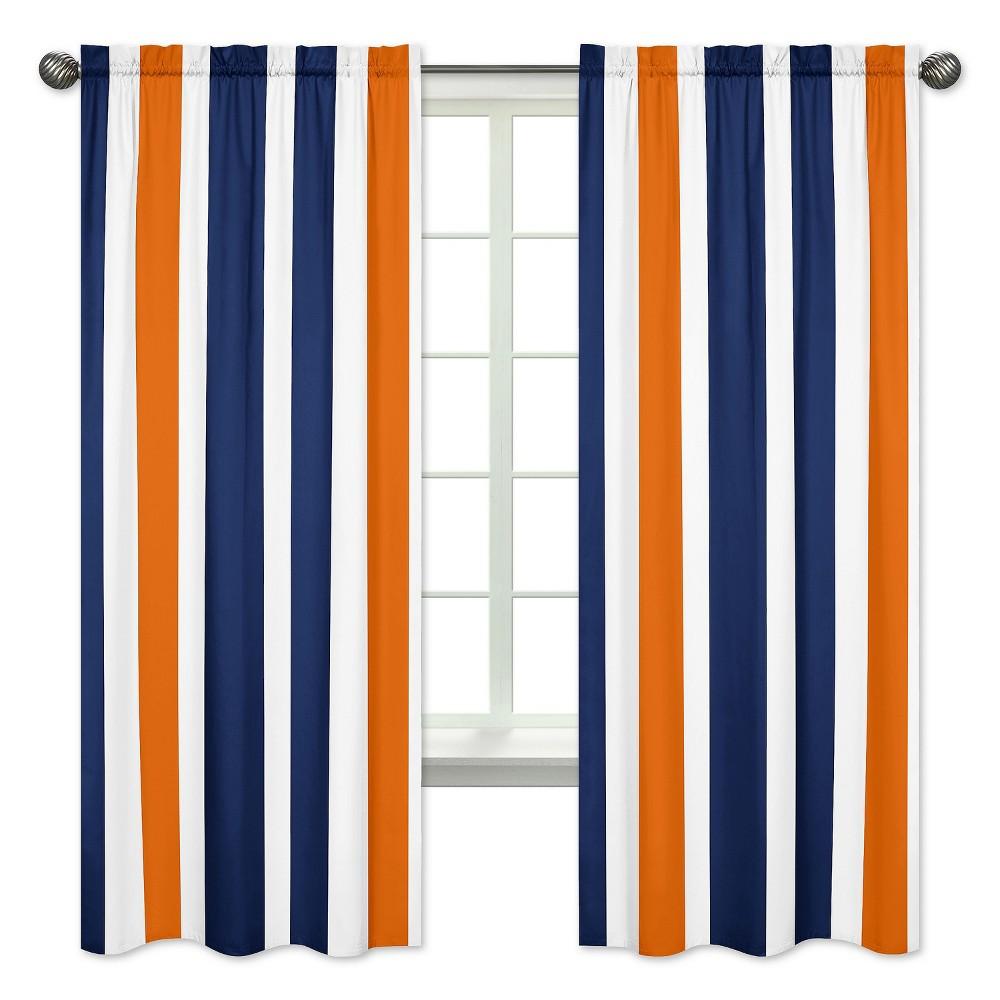 Navy & Orange Stripe Curtain Panels - Sweet Jojo Designs