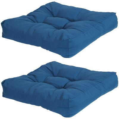 """Sunnydaze Indoor/Outdoor Replacement Square Tufted Patio Chair Seat and Back Cushions - 20 - Blue - 2pk"""""""