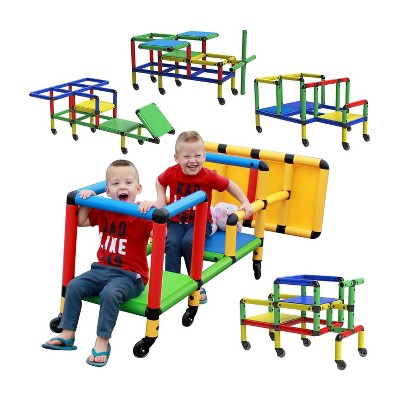 Funphix Wheelies Construction Buildable Indoor Outdoor Kids Toy Set STEM Learning Play Structure with 6 Wheels for Ages 2 through 12 Years, Multicolor