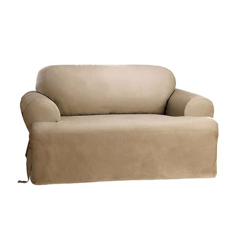 Cotton Duck Tcushion Sofa Slipcover - Sure Fit - image 1 of 2