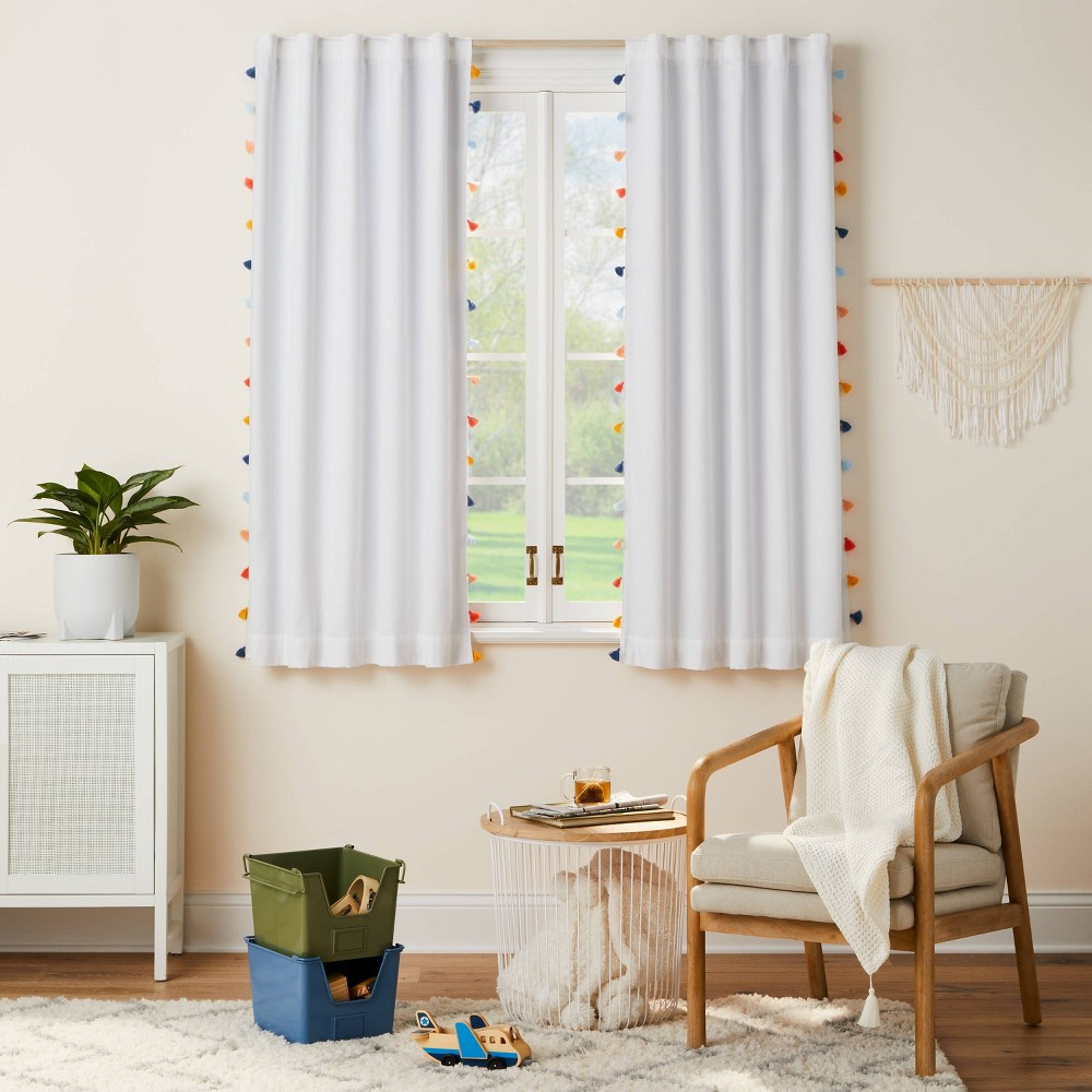 63 34 Blackout Tassel Curtain Panel Pillowfort 8482