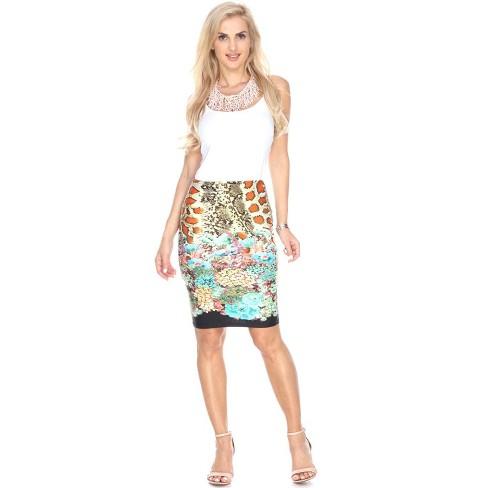 Women's Printed Pencil Skirt - White Mark - image 1 of 3