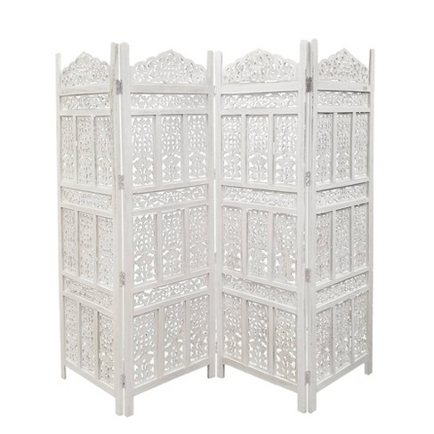 Aesthetically Carved 4 Panel Wooden Parion Screen Room Divider Bella White The Urban Port