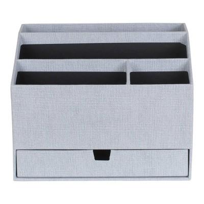 Greta Canvas Desktop Organizer with Supply Drawer Ash - Bigso Box of Sweden