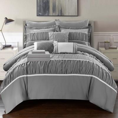 Chic Home Stieg 10 Piece Comforter Set Complete Decorative Pillows Shams - Grey