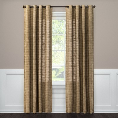 """84""""x54"""" Textured Weave Light Filtering Curtain Panel Brown - Threshold™"""