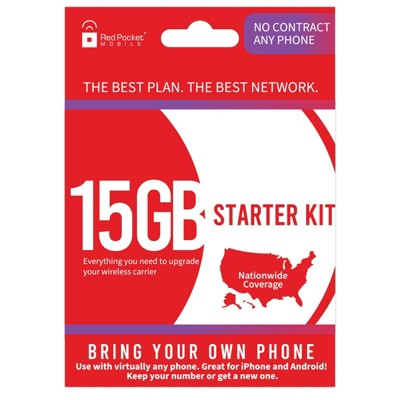 Red Pocket SIM Kit 1 Month Unlimited Talk Text and Data with (15GB) LTE