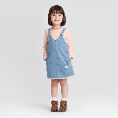 Toddler Girls' 2pc Long Sleeve Top & Denim Skirtall Set - art class™ Pink 4T