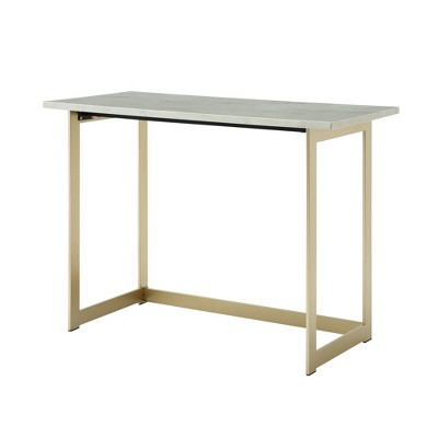 "42"" Contemporary Modern Faux Marble ComputerWriting Desk White Marble/Gold - Saracina Home"