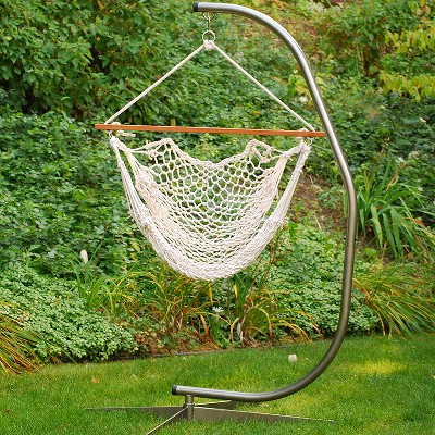 """Northlight 36"""" x 44"""" Natural Macrame Rope Hanging Outdoor Patio Hammock Chair - White"""