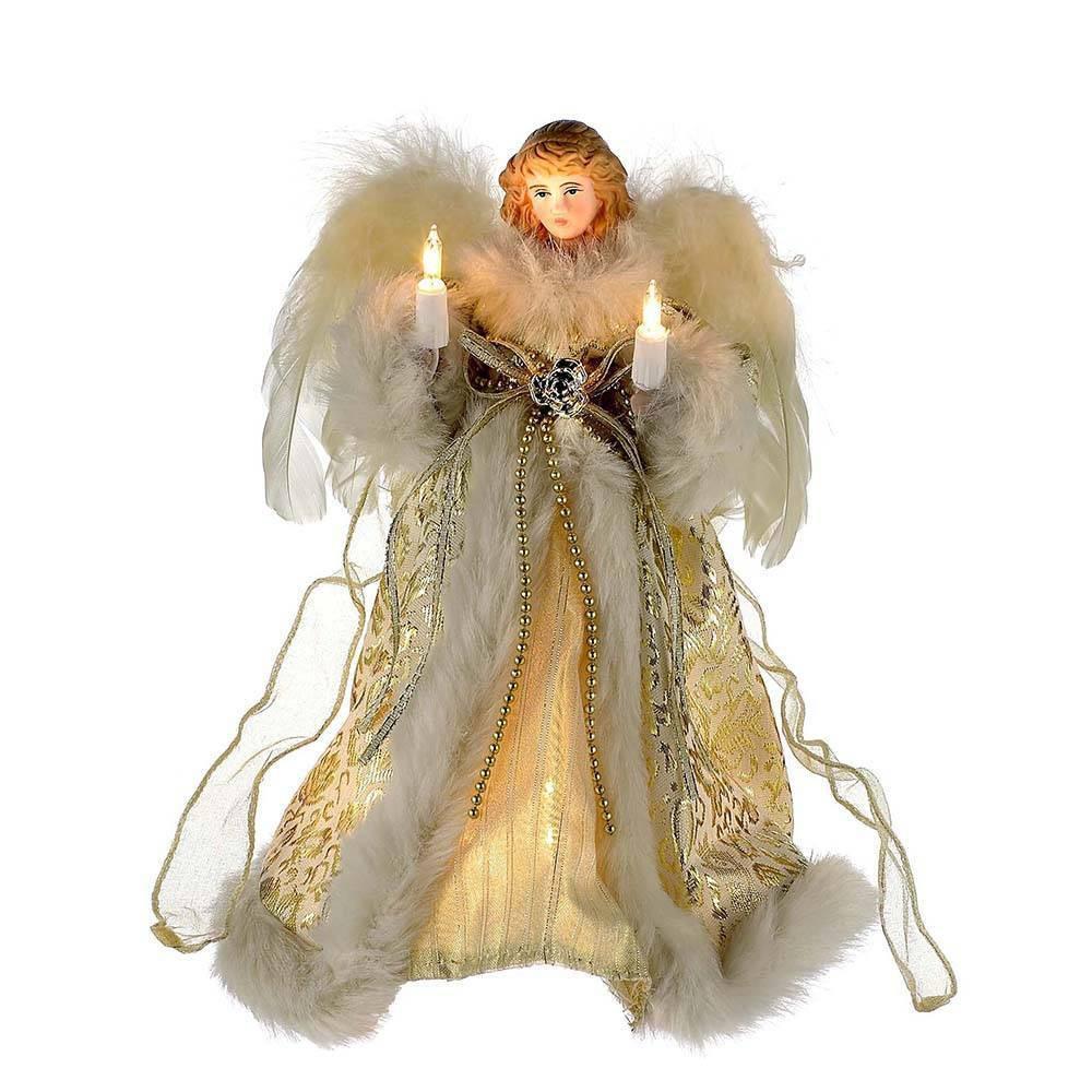 Image of 10in Kurt Adler 10 Light Angel Tree Topper Ivory and Gold