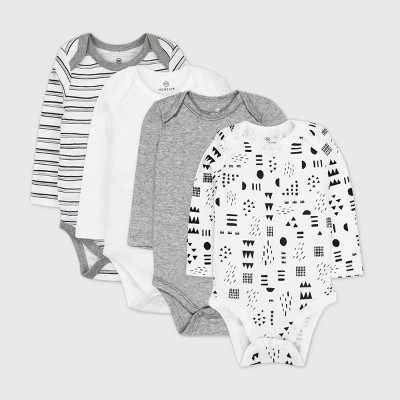 Honest Baby 4pk Pattern Play Long Sleeve Bodysuit - Black/White 0-3M