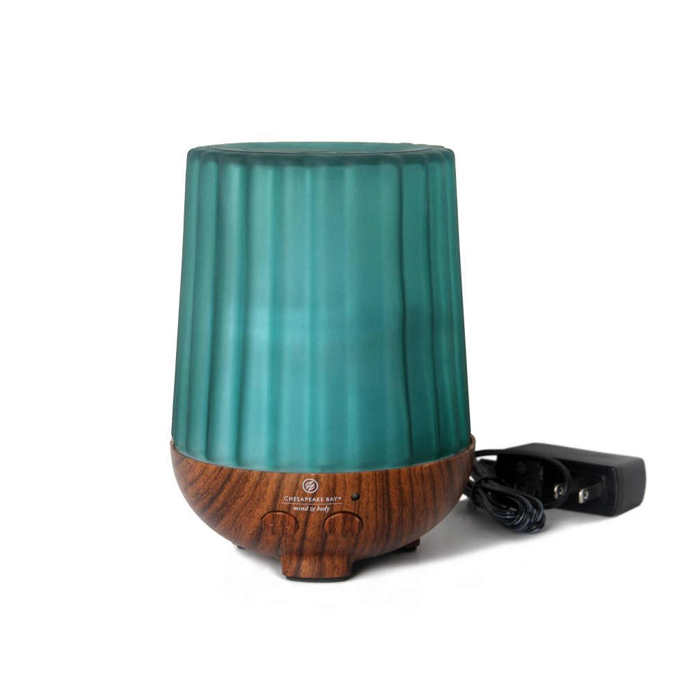 Essential Oil Diffuser Ribbed Frosted Blue - Mind And Body By Chesapeake Bay Candle