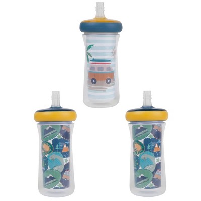 The First Years 3pk Drop Guard Insulated Straw Sippy - 9oz