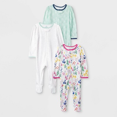 Baby Girls' 3pk Little Wildflower Zip Sleep N' Play Pajama - Cloud Island™ Newborn