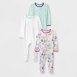 Baby Girls' 3pk Little Wildflower Zip Sleep N' Play Pajama Set - Cloud Island™
