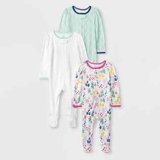 Baby Girls' 3pk Little Wildflower Zip Sleep N' Play Pajama - Cloud Island™ 3-6M