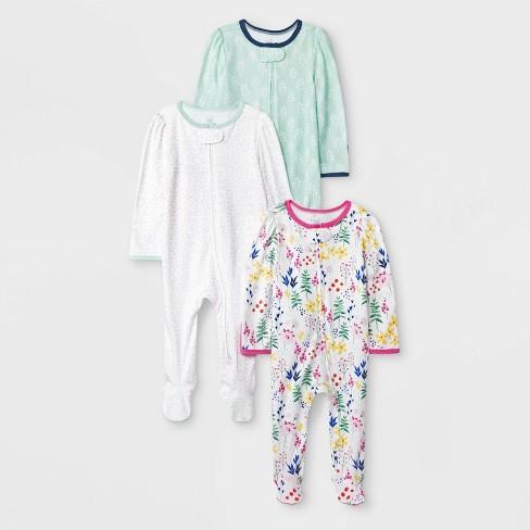 Baby Girls' 3pk Little Wildflower Zip Sleep N' Play Pajama Set - Cloud Island™ - image 1 of 1