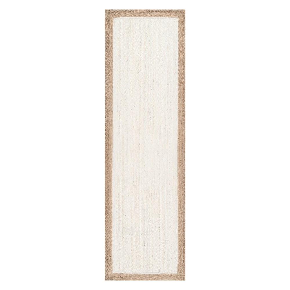 White Solid Loomed Runner 2'6X8' - nuLOOM
