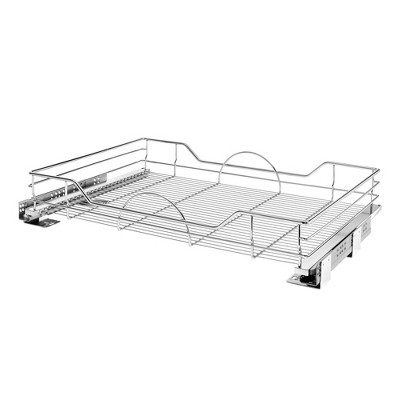 Rev-A-Shelf 5730-33CR 33 x 22 Inch Single Chrome Wire Basket Pull Out Shelf Storage Organizer with Soft Close for Kitchen Base and Lower Cabinets